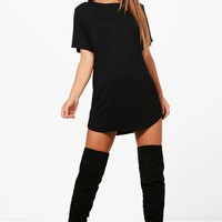 Petite Amy Curved Hem T-shirt Dress | Boohoo