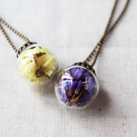 Dried forget me not, petals necklace, glass globe necklace, pressed flower necklace, yellow purple necklace, glass ball necklace, tiny ball
