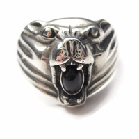 Mens Sterling Jaguar Cougar Panther Cat Ring with Onyx Size 12
