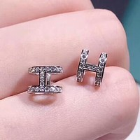 Hermes New fashion diamond H earring women Silver