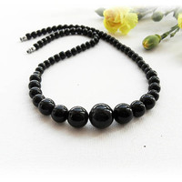 Black Jade Necklace - Gemstone Necklace - Choker - Round Beads Necklace - Black Necklace - Unique Gift