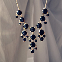 Mini Bubble Necklace J. Crew Style Inspired Statement Necklace Black