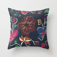 flowers blooming Throw Pillow by SpinL