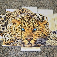 DZL Art D40339 Home Decoration,Framed,Stretched and Ready to Hang- 5 Panels Yellow Abstract Leopards Painting Wall Art Animal Picture Print On Canvas