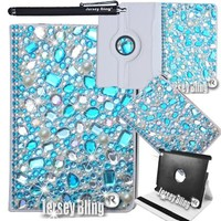 Jersey Bling® Ipad Mini BLUE! BLING!!! W/HUGE 3D Gems Stones, Faux Pearls Crystal & Rhinestone PU Leather Folio with 360 Rotating Case Cover & Stylus (Blue 3D Bling (iPad Mini))