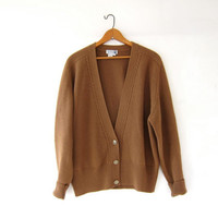 vintage brown cardigan sweater. cropped wool sweater. button up grandpa sweater