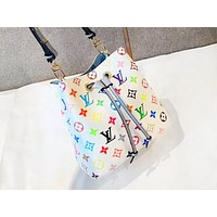LV hot casual lady color printed shopping shoulder bag fashion inclined across bucket bag