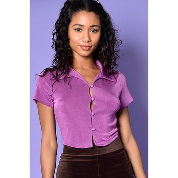 What Is Love Slinky Collared Top - Plum