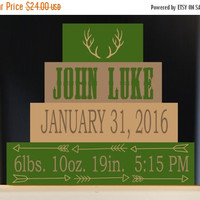 ON SALE Personalized Birth Stats Antler Arrow Wood Block Set, Tribal Birth Announcement, Nursery Decor, Birth Information, Blocks for Baby's