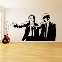 Banksy Vinyl Wall Decal Pulp Fiction Graffiti - Guys with Banana Pistols - Street Graffiti Sticker - Two Men in Dinner Jackets Decal Gift!