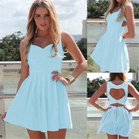Sexy Ladies Vintage Back Heart Chiffon Sleeveless Loose Dress Casual Dress