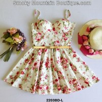 White Floral Multi Color Bustier Dress with Adjustable Straps Size S/M - BDL2203 - Smoky Mountain Boutique