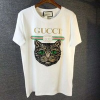Gucci Women Loose Cat Embroidery Sequin T Shirt White