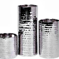 Set of 3 Dimpled Silver Candle Holders