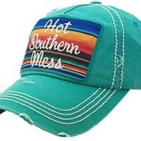 HOT SOUTHERN MESS TURQUOISE HAT