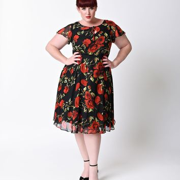Unique Vintage Plus Size 1940s Style Black & Red Rose Formosa Swing Dress