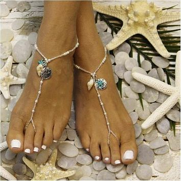 MERMAID beaded  barefoot sandals