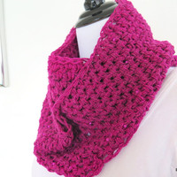 Fushia infinity scarf with sequins, hand crochet loop scarf, holiday gift for her
