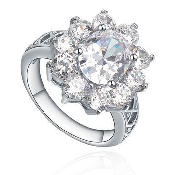 Stainless Steel Sunflower Oval and Round Cubic Zircona Ring