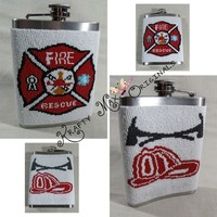 Fire Rescue Beadwoven Stainless Steel Flask-Krafty Max Original Design