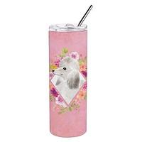 White Standard Poodle Pink Flowers Double Walled Stainless Steel 20 oz Skinny Tumbler CK4200TBL20