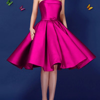 Dark Pink Bowknot Waist Lacing Back Strapless Prom Skater Dress