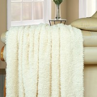 """BNF Home Fluffy Knitted Woven Throw Couch Cover Sofa Blanket, 50 by 60"""", Antique White"""