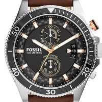 Men's Fossil 'Wakefield' Chronograph Leather Strap Watch, 45mm - Brown/ Silver/ Black