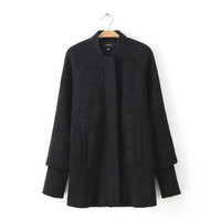 Cuff Sleeve Knitted Coat