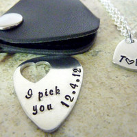 Valentines Day I pick you Personalized Guitar Pick date initials necklace Anniversary Hand Stamped Guitar pic I pick you