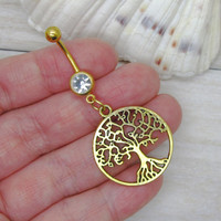 Antique gold tree belly button ring , tree of life charm, navel piercing, belly button ring jewelry,unique gift