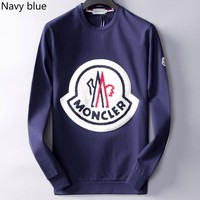 MONCLER 2018 autumn and winter new loose wild round neck pullover sweater navy blue