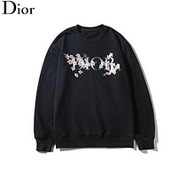 Dior 2019 new floral letter LOGO printed hooded sweater Black