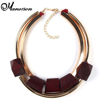 2016 Unique New Fashion Wood Metal Gold-plated Color Circle Accessories Necklaces & pendants Statement Collar Necklace 2297