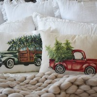Red Truck or Green Car Christmas Tree Pillow Cover