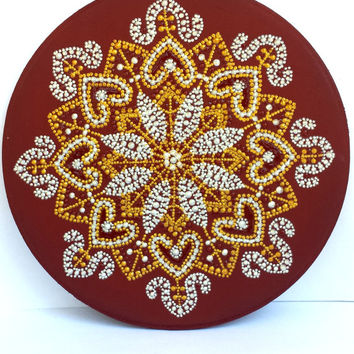 Indian ornament plaque Wooden plaque Point-to-point painting Wall plaque Table plaque