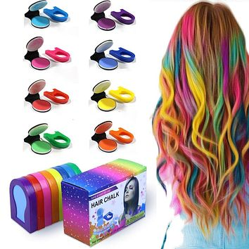 Rainbow Pride Colors Hair Chalk DIY Temporary Pastel Hair Dye Color Paint (8 color pack)