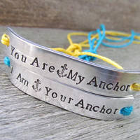 Set of 2 ANCHOR Friendship Bracelet Style Couples Jewelry His and Hers Hand Stamped Tie On Hemp Cord You Are My Anchor I am Your Anchor