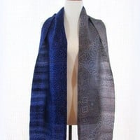 Blue and gray silk sari or saree scarf India batik extra long