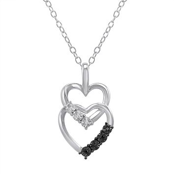 Diamond Heart Pendant-Necklace with Black and White Diamonds \ in Sterling Silver