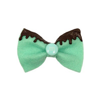 Mint Colored Felt Hair Bow Ribbon with Chocolate Icing and Teal M & M FREE SHIPPING