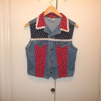 Born in the USA Rockabilly Red White and Blue Denim Vest