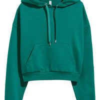 Short Hooded Sweatshirt - Dark green - Ladies | H&M US