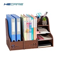 HECARE New Plastic Stationery Organizer Home Office Notebook File Shelf Pen Case Storage Box Waterproof Desk Organizer Container
