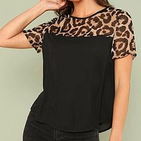 Cut And Sew Leopard Yoke Shirt Top Tee