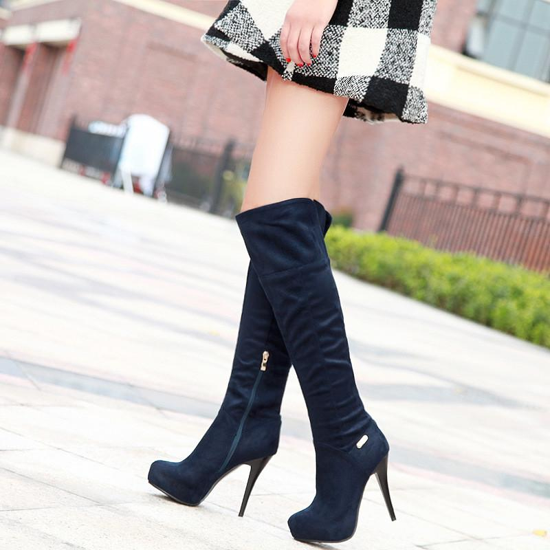 Image of Thigh High Boots Platform High Heels Stiletto Heel Shoes Woman 3328