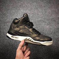 2017 Air Jordan Retro 5 Man Basketball Shoes Premium Heiress Metallic Field camo Sneakers eur 36-47