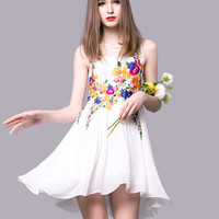 Floral Embroidered Summer Dress in White or Black