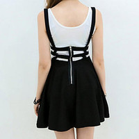 Retro Hollow Women Ladies Skater Strap Skirt Suspender Skirt Mini Kawaii Pleated Skirt