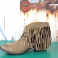 Taupe Fringe Bootie - BOOT676TA